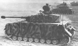 Several PZ-4 Leopard medium tanks during an assault operation Odessan army.